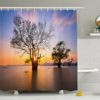 """Scenery House Dawn Time at Asian Seascape with Autumn Trees in Water Habitat Shower Curtain Set Size: 75"""" H x 69"""" W"""