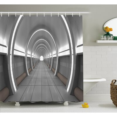 "Outer Space Galactic Place with Oval Shaped Ceiling Force Alien Life Apollo Comics Graphic Shower Curtain Set Size: 70"" H x 69"" W"