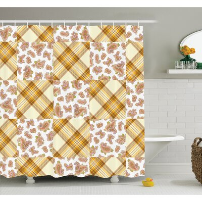 """Farm House Image of Patch and Deceit Lines and Paisley Motifs Nostalgic Stripes Shower Curtain Set Size: 70"""" H x 69"""" W"""