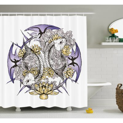 "Skull Pisces Fish with Lotus Flowers Traditional Eastern Symbolic Religious Shower Curtain Set Size: 75"" H x 69"" W"