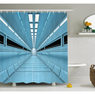 "Outer Space Science Fiction Hole in Spaceship Shuttle interior Futuristic Arrival Shower Curtain Set Size: 70"" H x 69"" W"