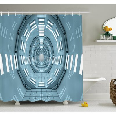 "Outer Space Spaceship Earth Corridor Adventure to Cosmos UFO Lands Architecture Walls Shower Curtain Set Size: 84"" H x 69"" W"