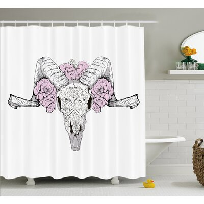 "Skull Bones of a Lamb with Rose Flowers Spiritual Oriental Creepy Boho Graphic Shower Curtain Set Size: 70"" H x 69"" W"