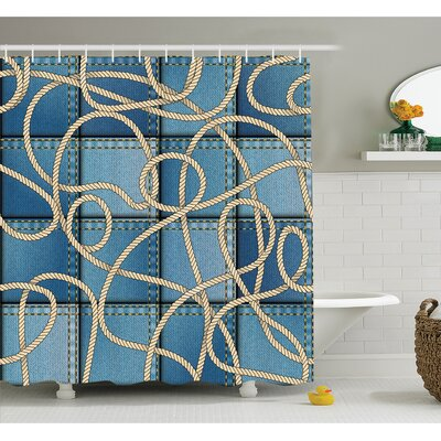"""Farm House Various Patches of Denim in Sea with Sailor Knot Rope on Foreground Image Art Shower Curtain Set Size: 84"""" H x 69"""" W"""