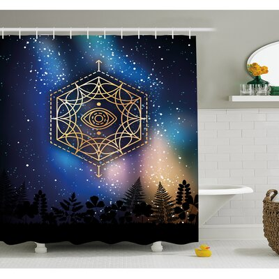 """Hexagon Form with Eye Icon in Centre on Starry Night Mystic Image Shower Curtain Set Size: 75"""" H x 69"""" W"""
