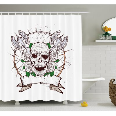 "Skull Figure with Nose and Cross Axes Grunge Christmas Icon Scary Design Shower Curtain Set Size: 70"" H x 69"" W"