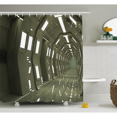 "Outer Space House Sci-Fi Environment Bright Perspective Robotic Underground Display Shower Curtain Set Size: 70"" H x 69"" W"