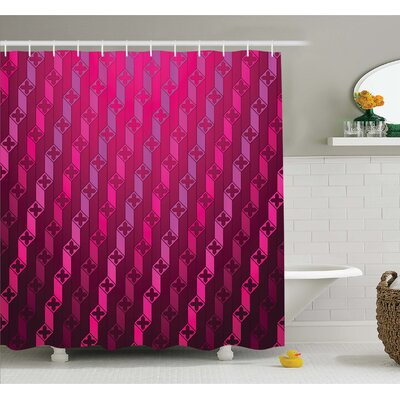 "Abstract Stripe Psychedelic Motif Fashion Gradient Retro Structured Grid Art Shower Curtain Set Size: 84"" H x 69"" W"