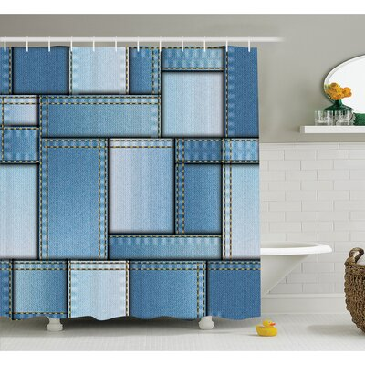 "Farm House Patchwork of Different Size Denim Fabric Pattern with Vertical Warp Beam Artprint Shower Curtain Set Size: 70"" H x 69"" W"