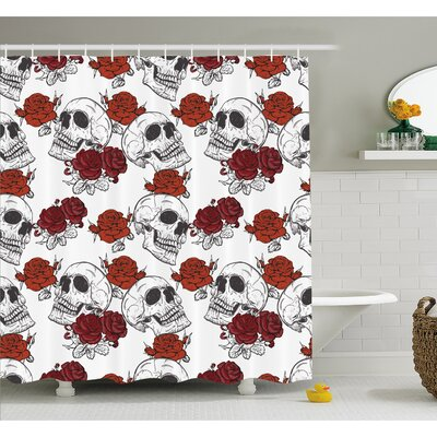 "Skull Retro Gothic Dead Skeleton Figures with Rose Halloween Spooky Trippy Romantic Shower Curtain Set Size: 84"" H x 69"" W"