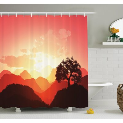 """Nature Sunset Tree Mountains Shower Curtain Set Size: 75"""" H x 69"""" W"""