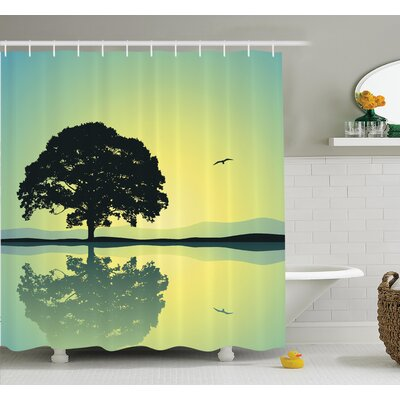 """Tree Reflections on Water Sun Shower Curtain Set Size: 75"""" H x 69"""" W"""