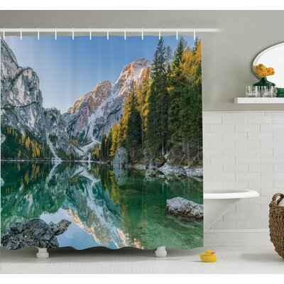 """Nature Fall View Lake Mountain Shower Curtain Set Size: 75"""" H x 69"""" W"""