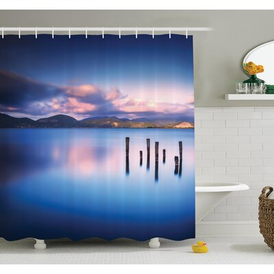 """Sky Reflection on Water Shower Curtain Set Size: 75"""" H x 69"""" W"""