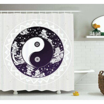 "Alia Ying Yang Symbol Boho Art Shower Curtain Set Size: 75"" H x 69"" W"