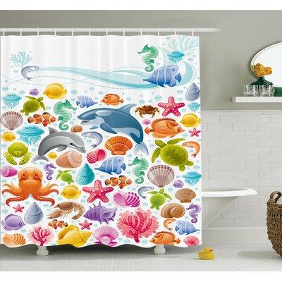 "Kids Tropical Ocean Animals Shower Curtain Set Size: 84"" H x 69"" W"