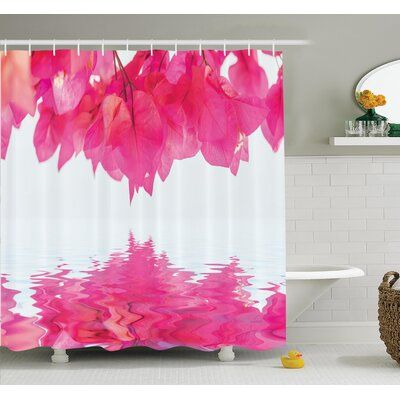 """Nature Leaves on River Shower Curtain Set Size: 75"""" H x 69"""" W"""