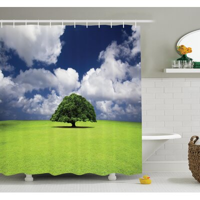 """Nature Old Tree in Grass Field Shower Curtain Set Size: 75"""" H x 69"""" W"""