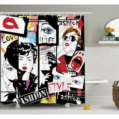 "Modern Fashion Shower Curtain Set Size: 75"" H x 69"" W"