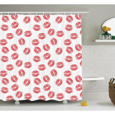 "Lipsticks Kiss Marks Shower Curtain Set Size: 75"" H x 69"" W"