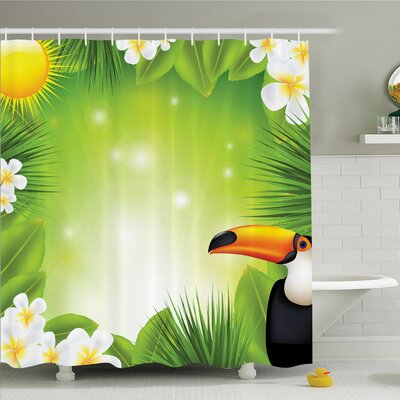 """Tropical Hawaii Exotic Jungle Shower Curtain Set Size: 84"""" H x 69"""" W"""