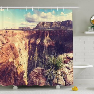 """House Canyon Rocks Formed Eroding Habita Feature of Geologic Movement Shower Curtain Set Size: 84"""" H x 69"""" W"""