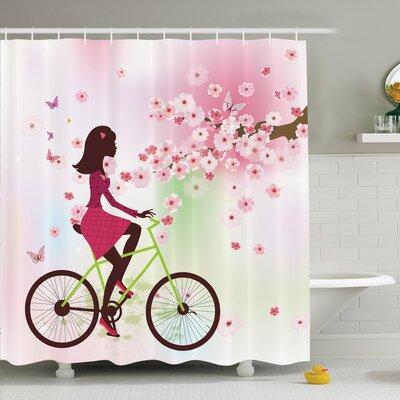 "Cherry Bloom Lady on Bike Shower Curtain Set Size: 84"" H x 69"" W"