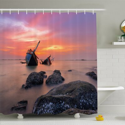 """Ocean Sunken Boat Vessel in Foggy Water before Exquisite Sky at Sunset Image Shower Curtain Set Size: 70"""" H x 69"""" W"""
