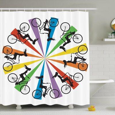 "Teen on Bike Rainbow Shower Curtain Set Size: 84"" H x 69"" W"