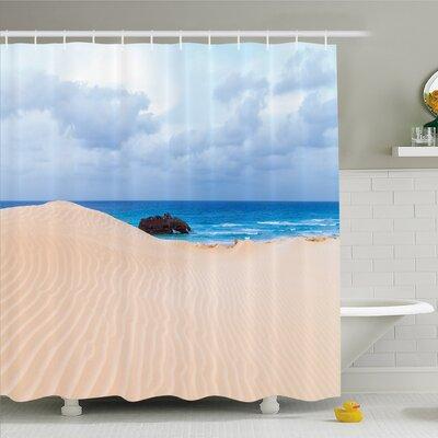 "Ocean Boat Crash by Exotic Tropical Beach in African Shore Dream Atlantic Ocean Shower Curtain Set Size: 84"" H x 69"" W"