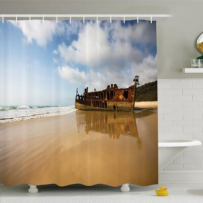 """Ocean Antique Rusty Pirate Ship Wreck on the Coast in Caribbean Island Pacific Sea Shower Curtain Set Size: 70"""" H x 69"""" W"""