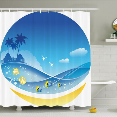 "Tropical Cartoon Sea Shower Curtain Set Size: 75"" H x 69"" W"