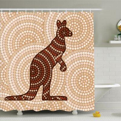 "Nathanael Kangaroo with Dot Shower Curtain Set Size: 84"" H x 69"" W"