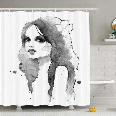 """Watercolor Portrait Art Shower Curtain Set Size: 75"""" H x 69"""" W"""