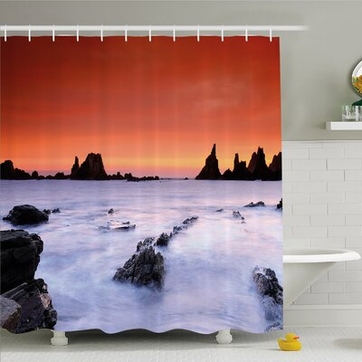 """Scenery House Air on Rocky River at Lights Shore Wild Exotic Marine Life Design Shower Curtain Set Size: 84"""" H x 69"""" W"""