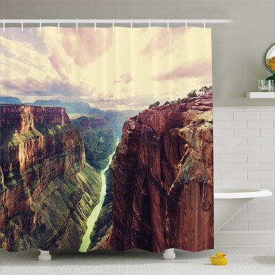 """House View of the Canyon with Mystical Narrow Long River Line Primitive Forces of Nature Shower Curtain Set Size: 70"""" H x 69"""" W"""