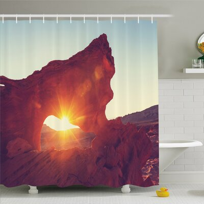 """House Sun Reflections over Ancient Cave Little Cliff Region Artifact Shower Curtain Set Size: 70"""" H x 69"""" W"""