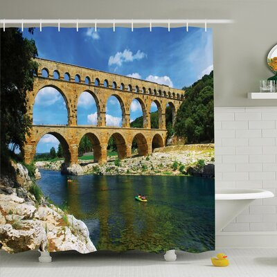 """Nature Ancient Roman Bridge Shower Curtain Set Size: 84"""" H x 69"""" W"""