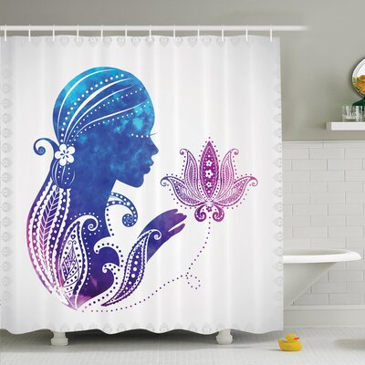 """Lady with Floral Hair Art Shower Curtain Set Size: 84"""" H x 69"""" W"""
