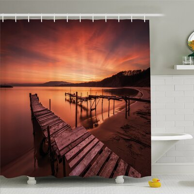 """Scenery House Old Rustic Pier on Beach and Romantic Tranquil Sky Pure Twilight Shower Curtain Set Size: 84"""" H x 69"""" W"""