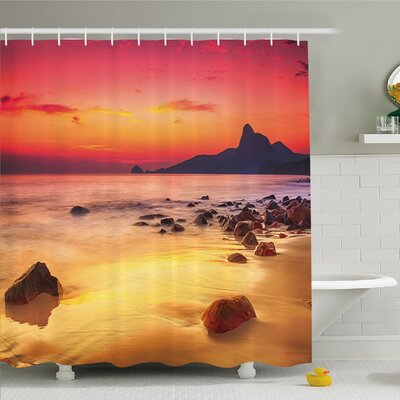 """Scenery House Mystic Sunrise over the Sea with Stones and Cliffs Shower Curtain Set Size: 75"""" H x 69"""" W"""