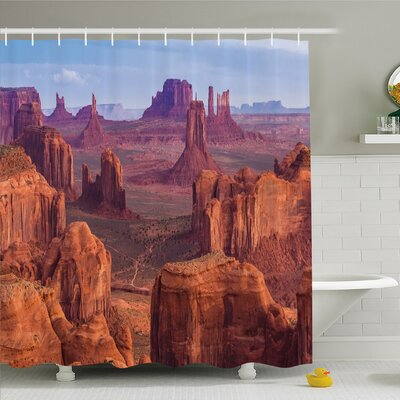 """House View of Deep Canyon with Different Red Rocks Discovery ArtShower Curtain Set Size: 84"""" H x 69"""" W"""