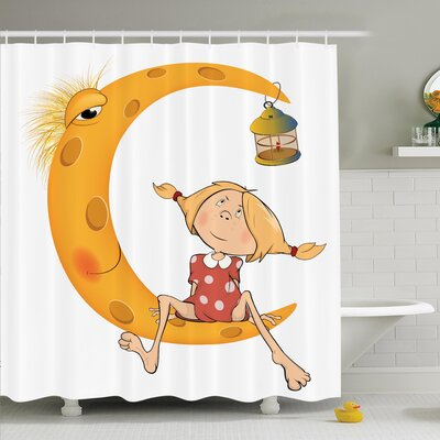 """Teen Sitting on the Moon Shower Curtain Set Size: 75"""" H x 69"""" W"""