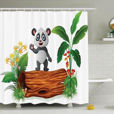 "Maeve Baby Panda Posing Shower Curtain Set Size: 84"" H x 69"" W"