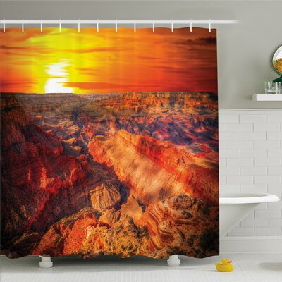 """House Horizon Overview Unique Grand Canyon with Sunset Effect Shower Curtain Set Size: 70"""" H x 69"""" W"""
