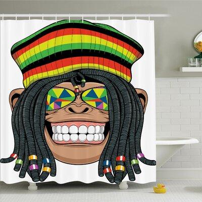 """Monkey Hippie Jamaican Animal Shower Curtain Set Size: 75"""" H x 69"""" W"""