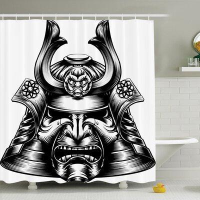 """Rick Decor Samurai Mask Shower Curtain Set Size: 70"""" H x 69"""" W"""