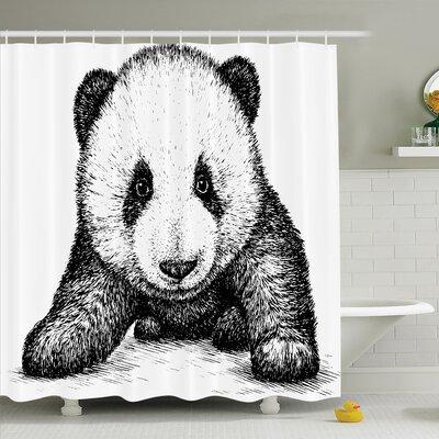 "Baby Panda Bear Sketch Shower Curtain Set Size: 75"" H x 69"" W"