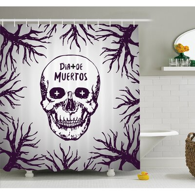 """Mexican Quote with Spooky Skull Head among Tree Branches Calaveral Carnival Graphic Shower Curtain Set Size: 75"""" H x 69"""" W"""