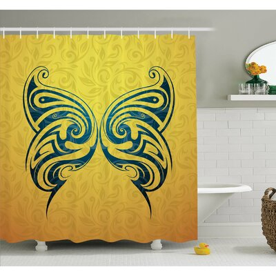 "Tattoo Head of Lion with Feather Art on His Mane Native American Design Shower Curtain Set Size: 75"" H x 69"" W"